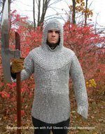 Aluminum, Flat Riveted, Full Sleeve  Chain Mail  Haubergeon Size L