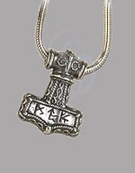 Bindrune Hammer Pewter Pendant and Silver chain