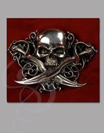 Skull and Crossbones Belt Buckle, English Pewter