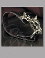 Leather wrist strap with pewter dragon and rune circle