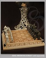 Portable Chess Set with Pewter Figures and Scrimshaw Board