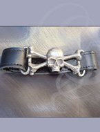 Leather wrist strap with pewter skull and bones
