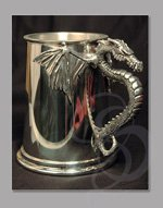 Handmade Pewter Tankard with Dragon Grip