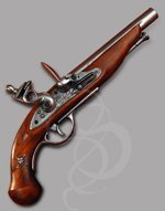 Pirate Flintlock pistol with Skull and Crossbones on Stock