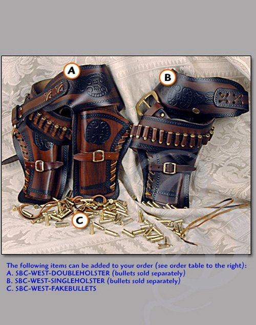 Leather Old West Double Holster Belt for Replica Pistols
