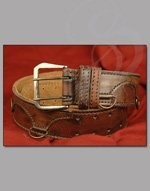 Thick Leather Medieval belt with Utility Hooks