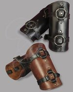 Adjustable Leather Bracers with Large Sewn Rings