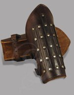 Adjustable Leather Bracers with Metal Plating