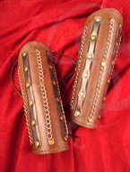 Adjustable Leather Bracers with Metal Chains