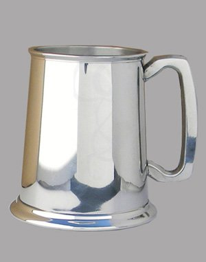Pewter Classic Tankard with Glass Bottom