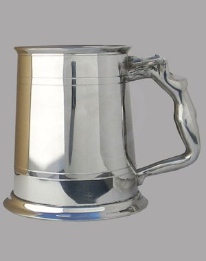 Double Lined Pewter Tankard wih Nymph Handle