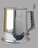 Lined Pewter Tankard with Rope Handle 1 Pint